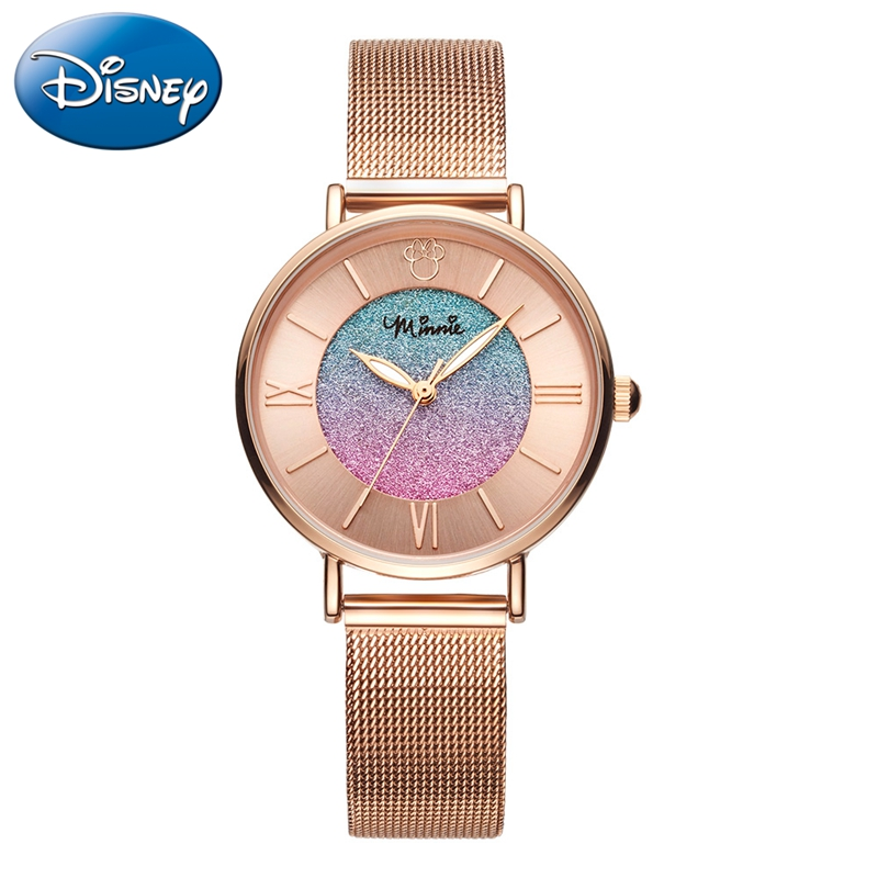 Minnie Mouse Women Stainless Steel Mesh Band Japan Quartz Watch Lady Waterproof Watches Luxury Girls Rose Gold Leather Clock New