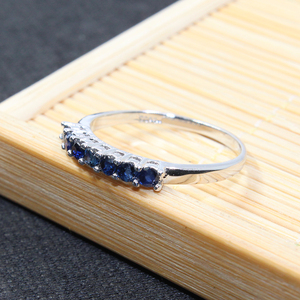 Image 4 - 100% الطبيعية الأزرق الداكن خاتم من الياقوت الأزرق للمرأة 7 قطعة 2.5 مللي متر SI الصف خاتم من الياقوت الأزرق الصلبة 925 الفضة خاتم من الياقوت الأزرق رومانسية هدية