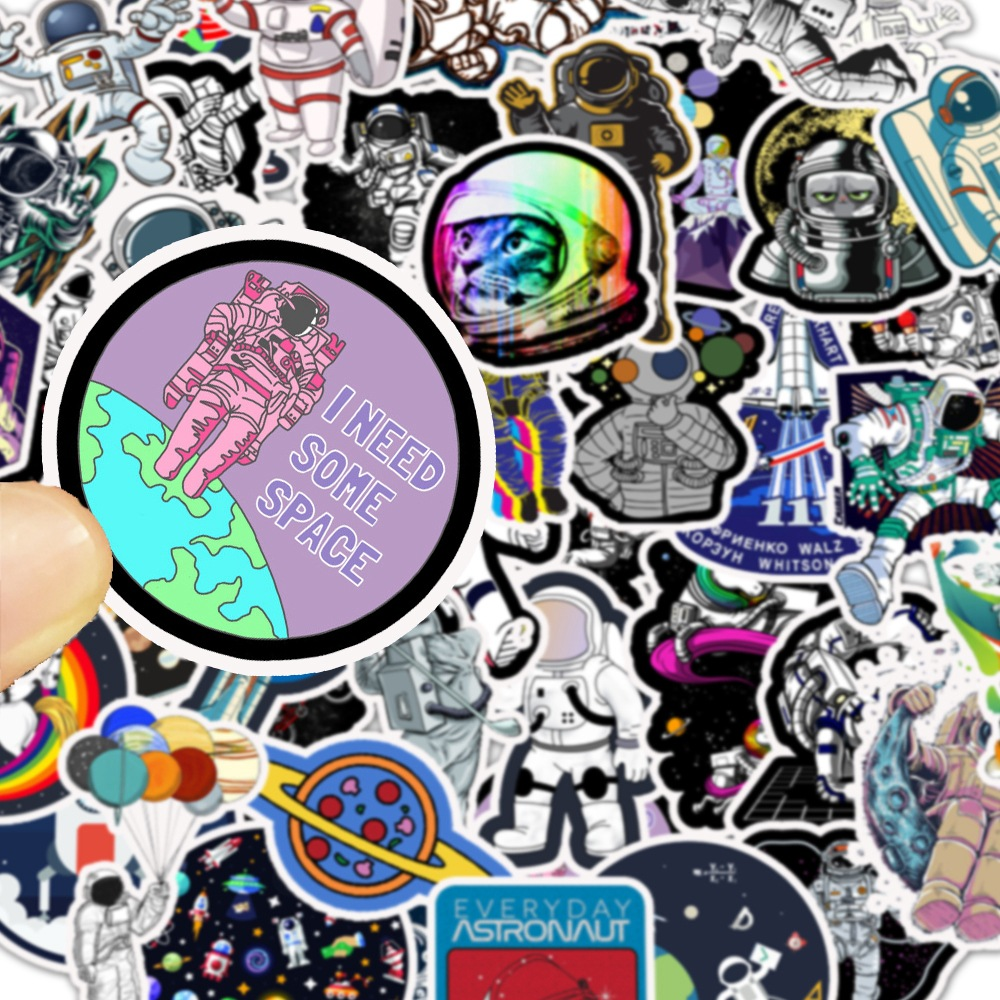 50Pcs Outer Space 2020 Astronaut Stickers For Suitcase Skateboard Laptop Luggage Fridge Phone Car Styling DIY Decal Sticker