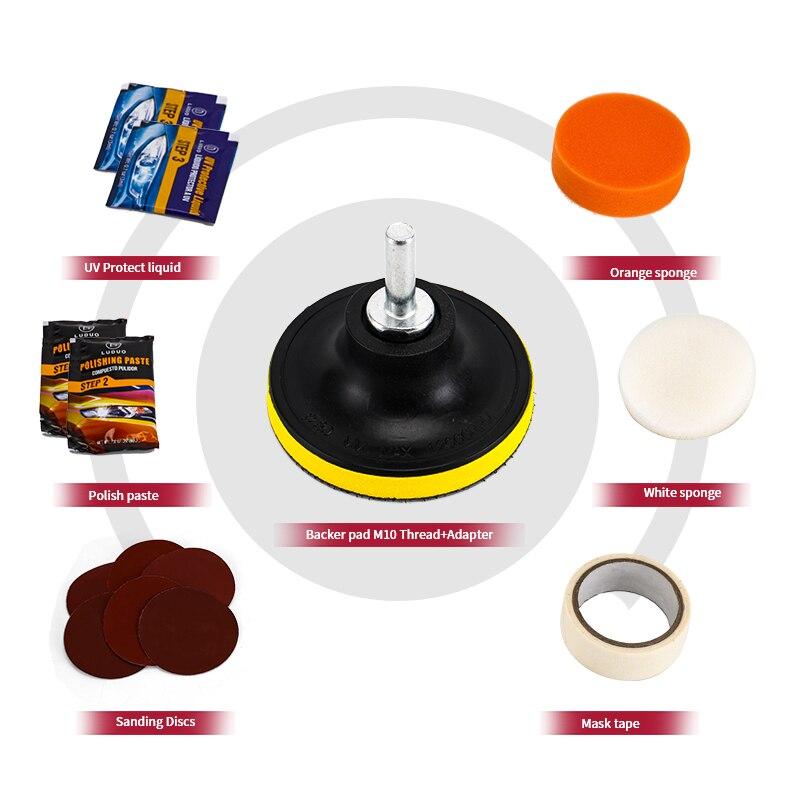 Купить с кэшбэком LUDUO DIY Headlight Restoration Polishing Kits Headlamp Clean Paste Systems Car Care Wash Head Lamps Brightener Refurbish Repair