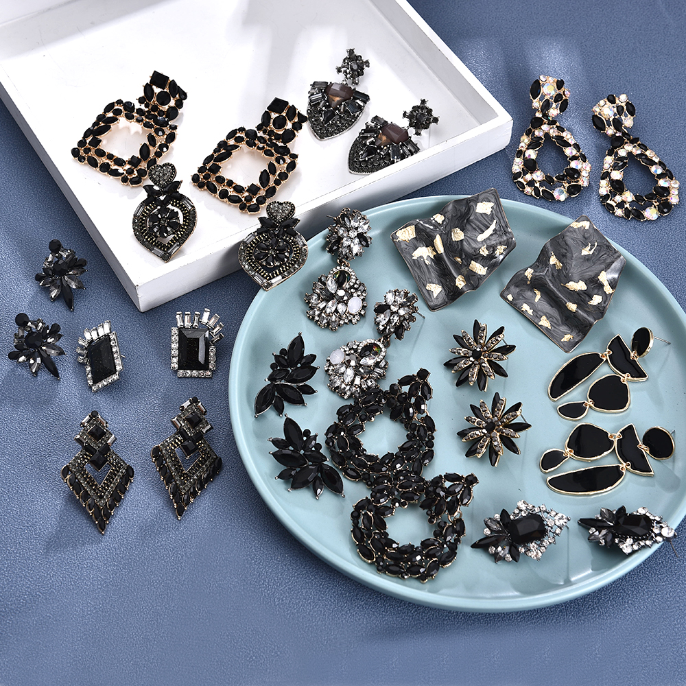 Ztech Za Earrings Black Crystal High-quality Rhinestone Statement Metal Jewelry Fashion Vintage Accessories For Women Wholesale