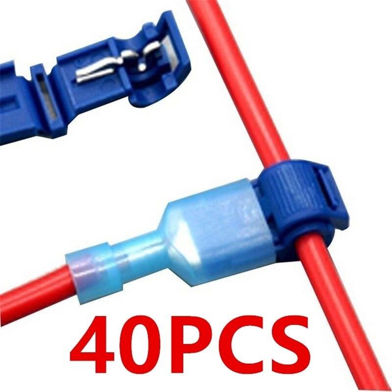 40Pcs Quick Electrical Cable Connectors Snap Splice Lock Wire Terminals Crimp