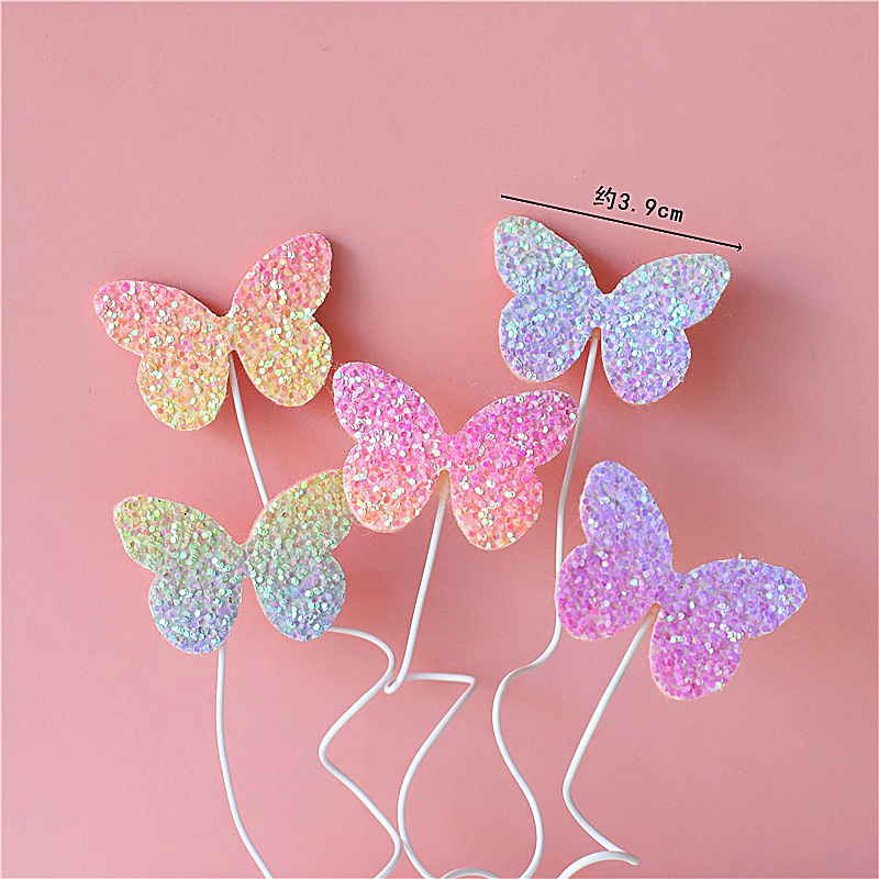Biling Colourful Laser Butterfly Happy Birthday Cake Topper Dessert Decoration For Birthday Party Lovely Gifts Cake Decorating Supplies Aliexpress