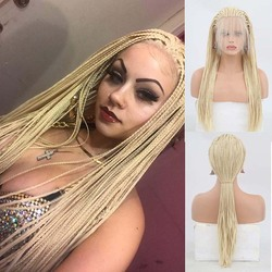 AIMEYA Long Braided Lace Front Wigs for Women #613 Blonde Micro Braids Wig with Baby Hair Heat Resistant Synthetic Braids Wig