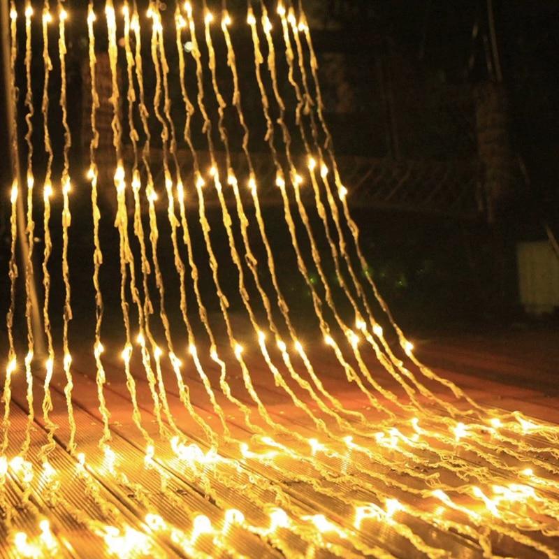 Emitting Color : White, Wattage : 220V EU Plug HXLF 3X3M Cascata Icicle String Lights 320 LEDs Meteor Shower Pioggia Fata String Christams Matrimonio Festa Tenda Ghirlanda