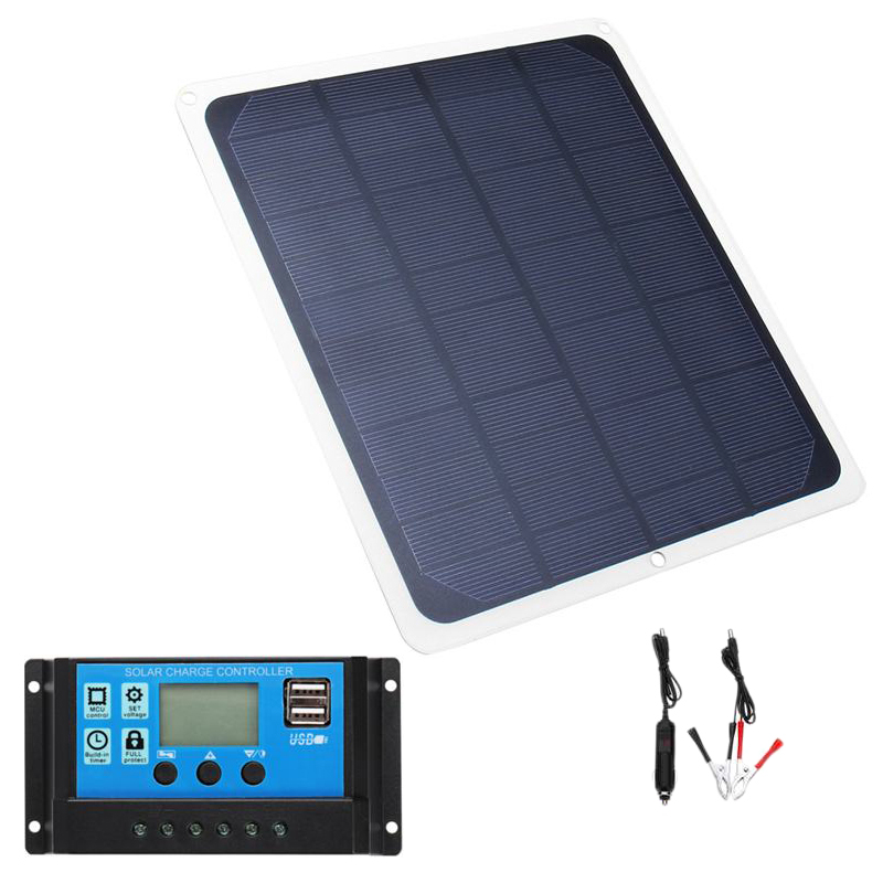 12V 20W USB Solar Panel with Car Charger Crocodile Clip USB Solar Charger Controller for Outdoor Camping image