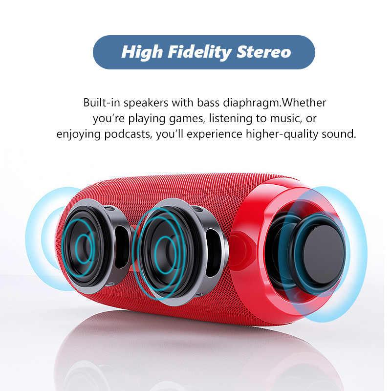 سماعة لاسلكية تعمل بالبلوتوث باس مكبر صوت مقاوم للماء FM الرياضة مضخم صوت محمول ستيريو العمود مع هيئة التصنيع العسكري الموسيقى المحيطي Boombox USB
