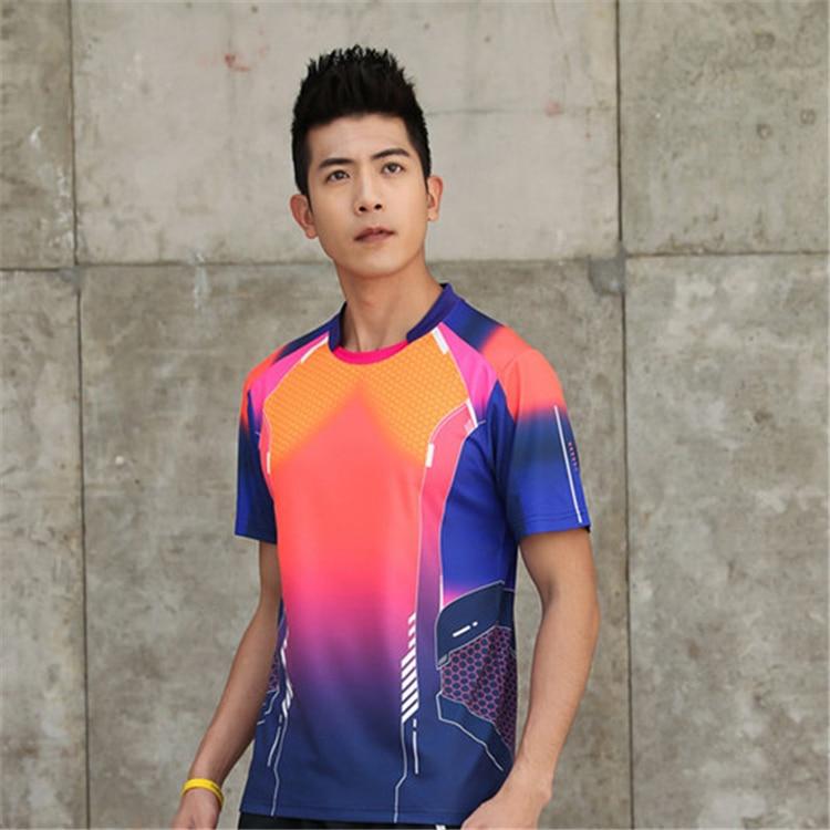 Быстросохнущая, впитывающая пот и дышащая рубашка для бадминтона, топ для соревнований, тренировочный костюм для бега, мужской и женский короткий рукав - Цвет: 1817Amale2