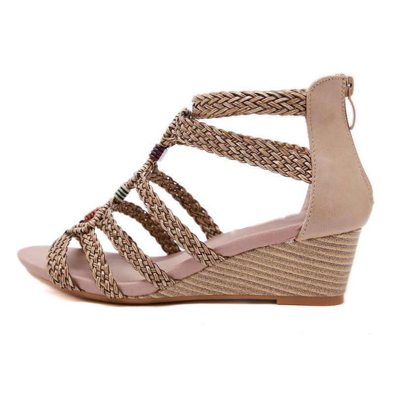 HOVINGE Frauen Offene spitze Sandalen Böhmen Boho Strappy Sandalen String Bead Twist Keil Heels Gladiator Rom Schuhe