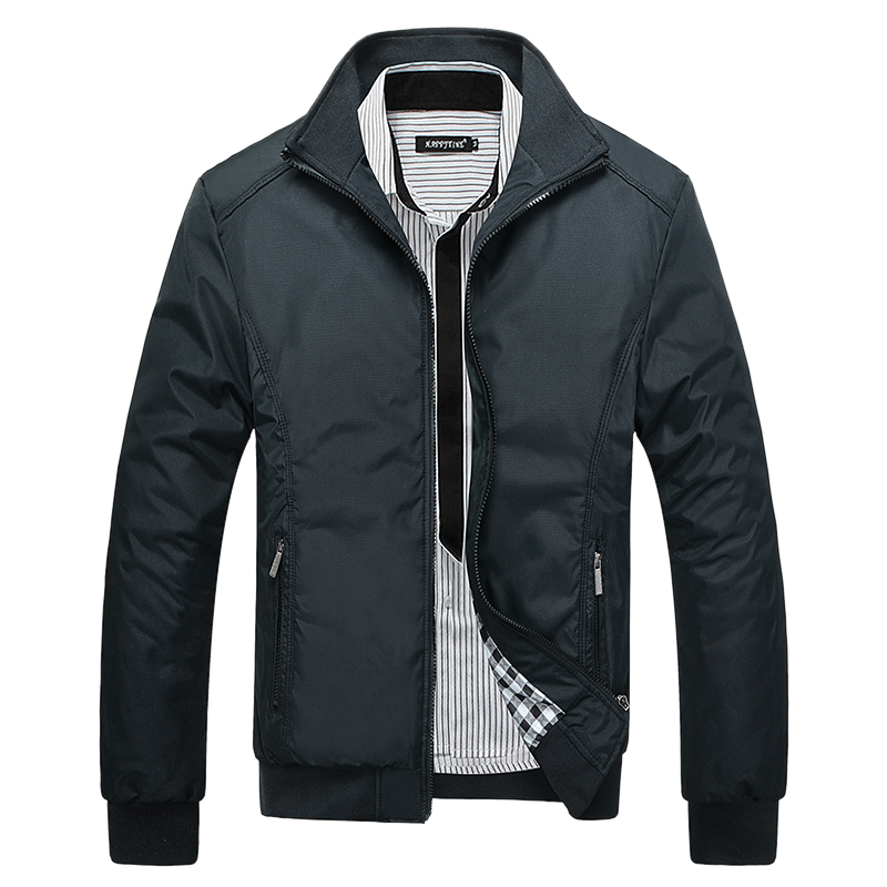 Autumn Winter Men Jacket Coats Singles Stand Collar Casual Business Portable Solid Zipper Outwear Motorcycle Male Clothing