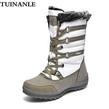 TUINANLE damskie platformy zimowe buty krowa Suede połowy łydki buty wojskowe dla kobiet ciepłe pluszowe buty kobiety Botas De Mujer śnieg buty
