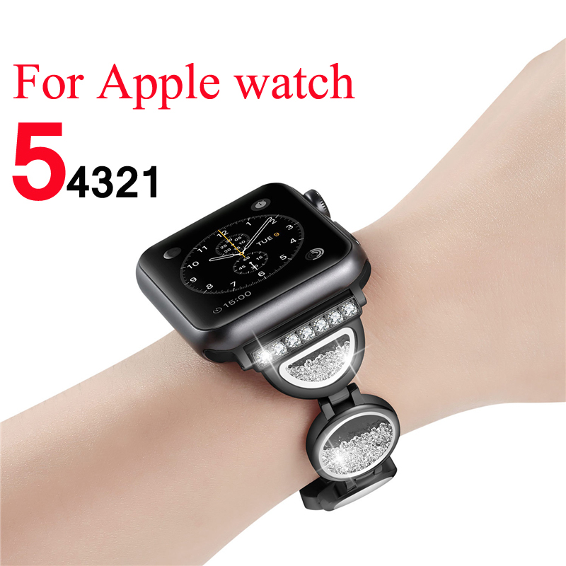 Strap for Apple watch band 5 4 44mm 40mm woman Quicksand diamond correa iwatch band 42mm 38mm bracelet watch Accessories   Watchbands