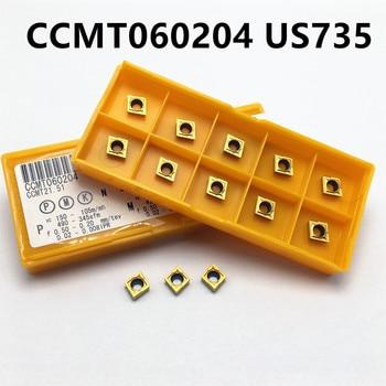 10 Uds. CCMT060204 US735 VP15TF US735 cortador de carburo CCMT 060204 herramienta de torneado herramienta de corte CNC herramienta de torno