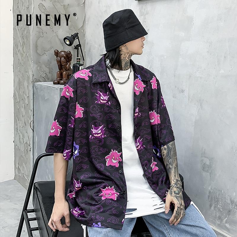 T Shirt Men Gengar Pokemon Funny Top Tees 100% Cotton Breasted 2020 Summer Tshirt Hip Hop Streetwear Harajuku Men's T-shirt
