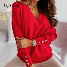 Sexy V-Neck Button Blouses Shirts Autumn Spring Elegant Long Sleeves Solid Tops 2021 Female Casual Vintage Fashion Slim Blusa