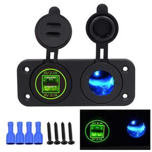 Прикуриватель OLOMM с двойным USB зарядным устройством, 12 в-24 в, для автомобиля, лодки, мотоцикла, розетки для прикуривателя, розетка питания