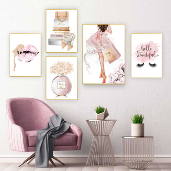 Room Decor Wall Art Modern Fashion Pink lips Perfume Bag  High Heels Poster Print Canvas Painting Cuadros para el hogar Picture