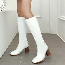 цены Plus Size 34-48 New High Heels Knee High Boots Women Patent Leather Winter Boots Women Long Boots Sexy Fashion Pumps Shoes Boots