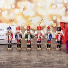 Новогодний декор Детская кукла 1 шт. 12 см деревянный Щелкунчик солдат Веселые подвески для рождественских украшений украшения для декора рождественской елки, Q