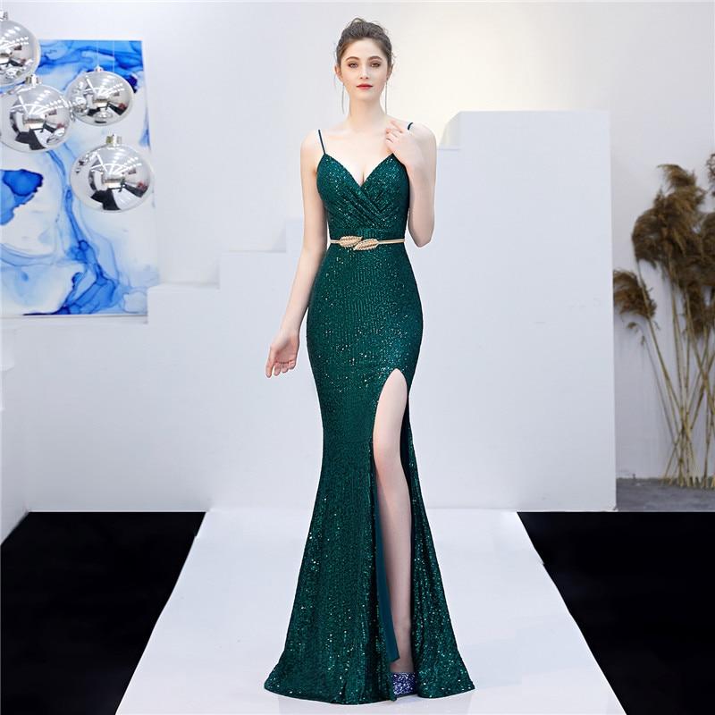 Shining Sequined Evening Dress 2020 Elegant Backless Gown Spaghetti Strap Sparkle Long Sleeveless Vestidos De Fiesta De Noche