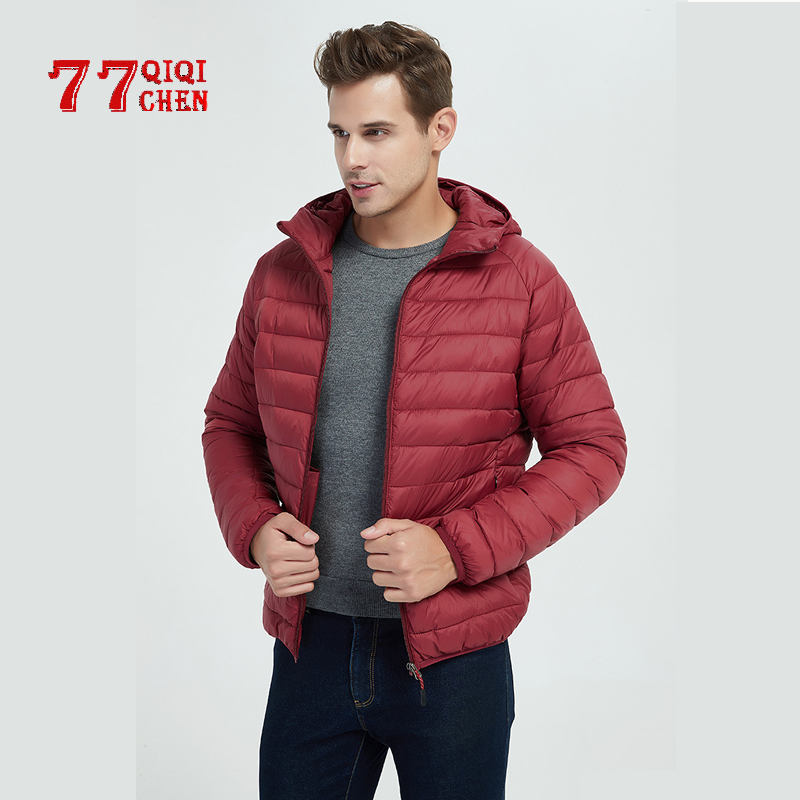 Ultra-light Thin Cotton Jacket Men's 2019 New Autumn Winter Slim Short Hooded Warm White Down Cotton Coat Plus Size Casual Coats