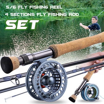 fly fishing rod 6 7 7 8 8 9 saltwater freshwater fly rod with a grade corkwood handle carp rod full aluminum reel seat Sougayilang 2.7m Fly Fishing Rod Combo Ultralight Fly Rods and 5/6 7/8 CNC-machined Aluminum Fly Fishing Reel Set Fishing Tackle