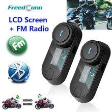 Freedconn TCOM SC bluetooth capacete da motocicleta interfone fone de ouvido tela lcd com rádio fm + macio