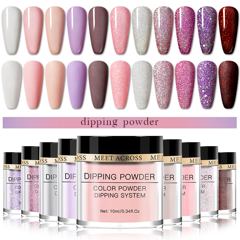 MEET ACROSS Matte Or Shiny Dipping Nail Glitter Powder Natural Dry Nail Art Decoration Without Lamp Cure Nail Dust Decors
