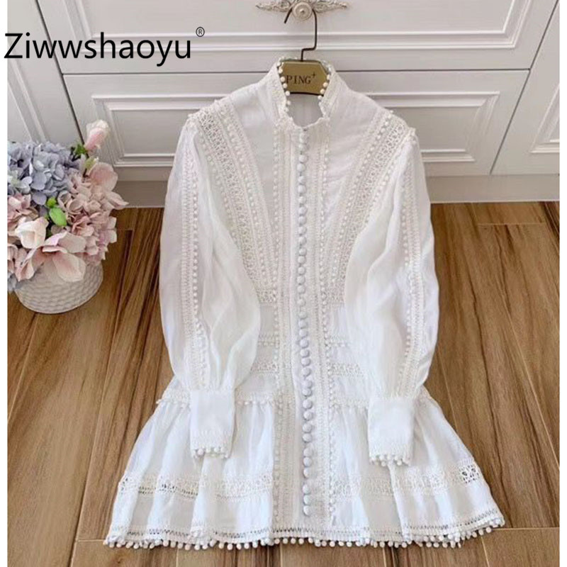 Ziwwshaoyu Designer High End Autumn Winter Manual Embroidery Single-Breasted Lantern Sleeve White Cotton Party Dress Women's