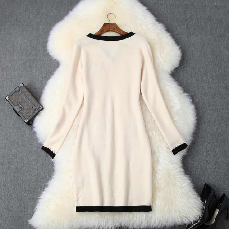 Pista de inverno Pacote de hip vestidos de 2019 nova Designer De Luxo Completo manga Frisado vestido de festa xl outono Das senhoras das Mulheres Vestido de tricô
