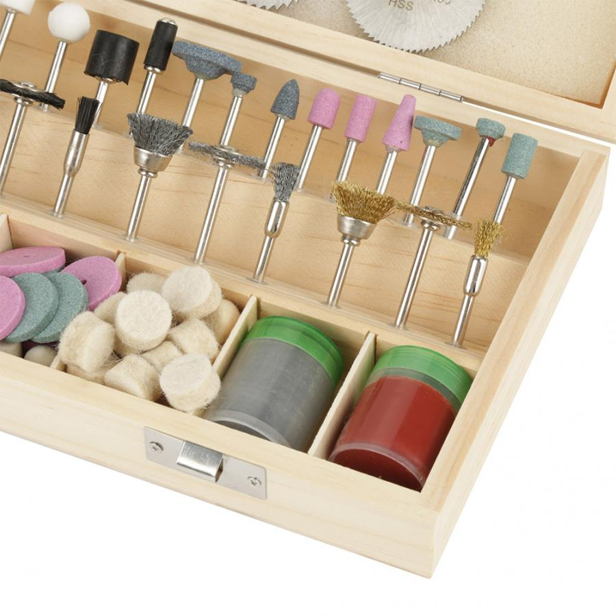 DIY household Rotary Tool Accessory Kit Sets 242Pcs In Wooden Storage Box