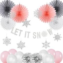 Christmas Decoration Set Pink Let it Snow Kit  Paper Snowflake Fans Navidad New Year Ornaments