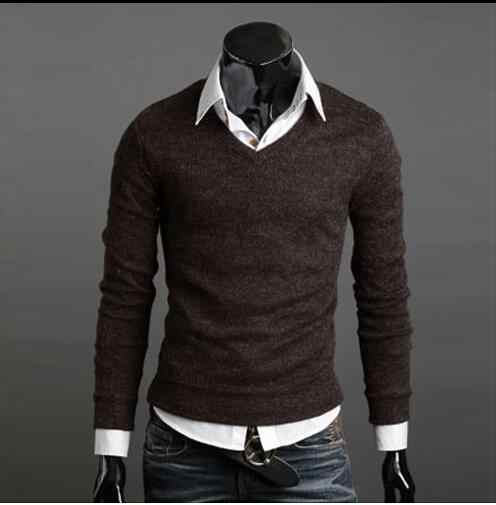 Men's autumn and winter sweater thickened rabbit hair V-Neck Sweater men's autumn and winter rabbit hair knitting solid color