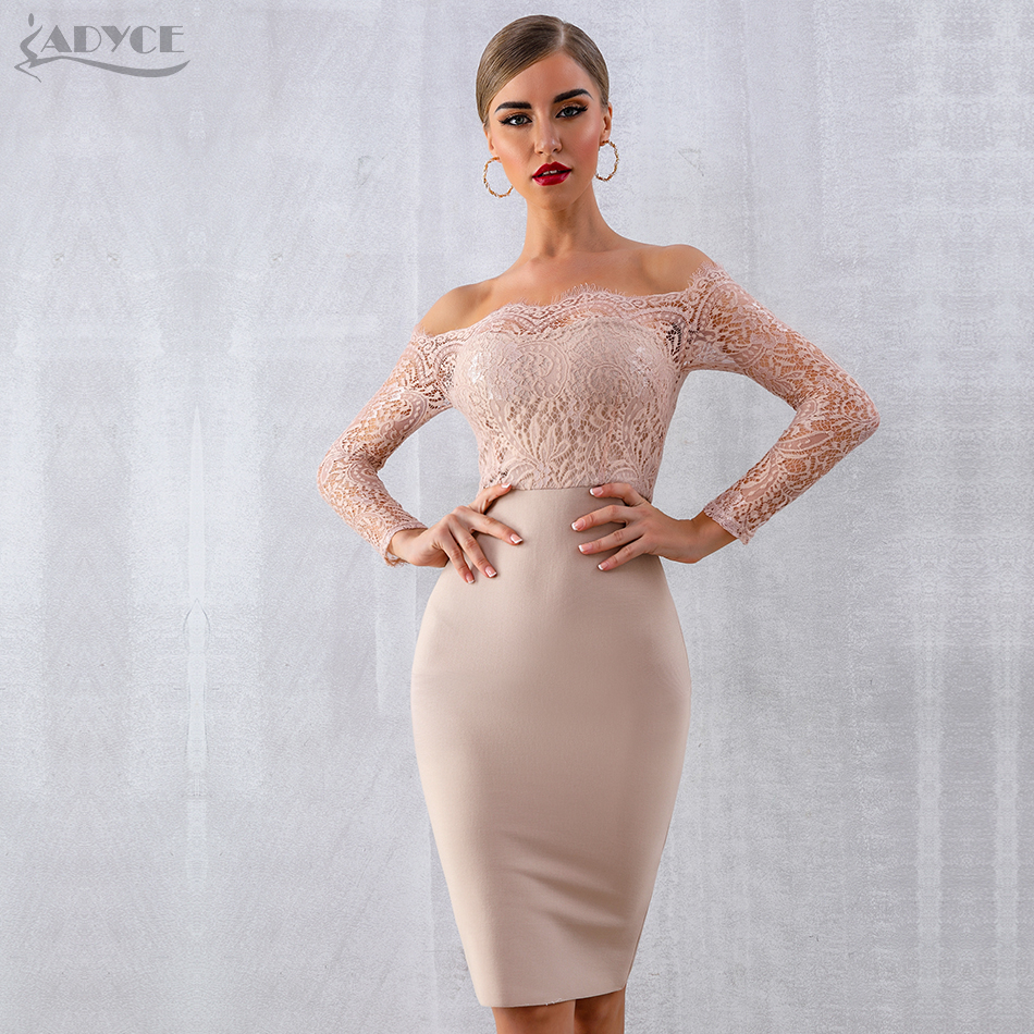 ADYCE 2020 New Autumn Women Lace Bandage Dress Vestido Sexy Long Sleeve Slash Neck Bodycon Club Dress Midi Celebrity Party Dress