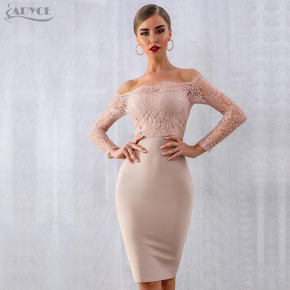 ADYCE 2020 New Autumn Women Lace Bandage Dress Vestido Sexy Long Sleeve Slash Neck Bodycon Club Dress Midi Celebrity Party Dress