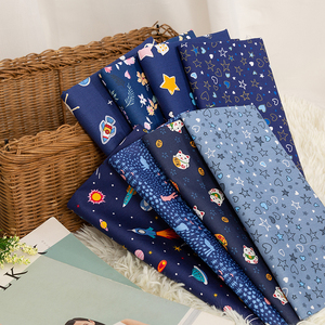 Blue Cotton Fabric Printed Space Bedding Material Sewing Fabric TJ1161