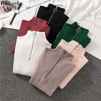 Woherb Autumn Winter Basic Knitted Sweater Women Zipper Patch Half Turtleneck Slim Pullover Jumper 2020 Korean Modis Pull Femme