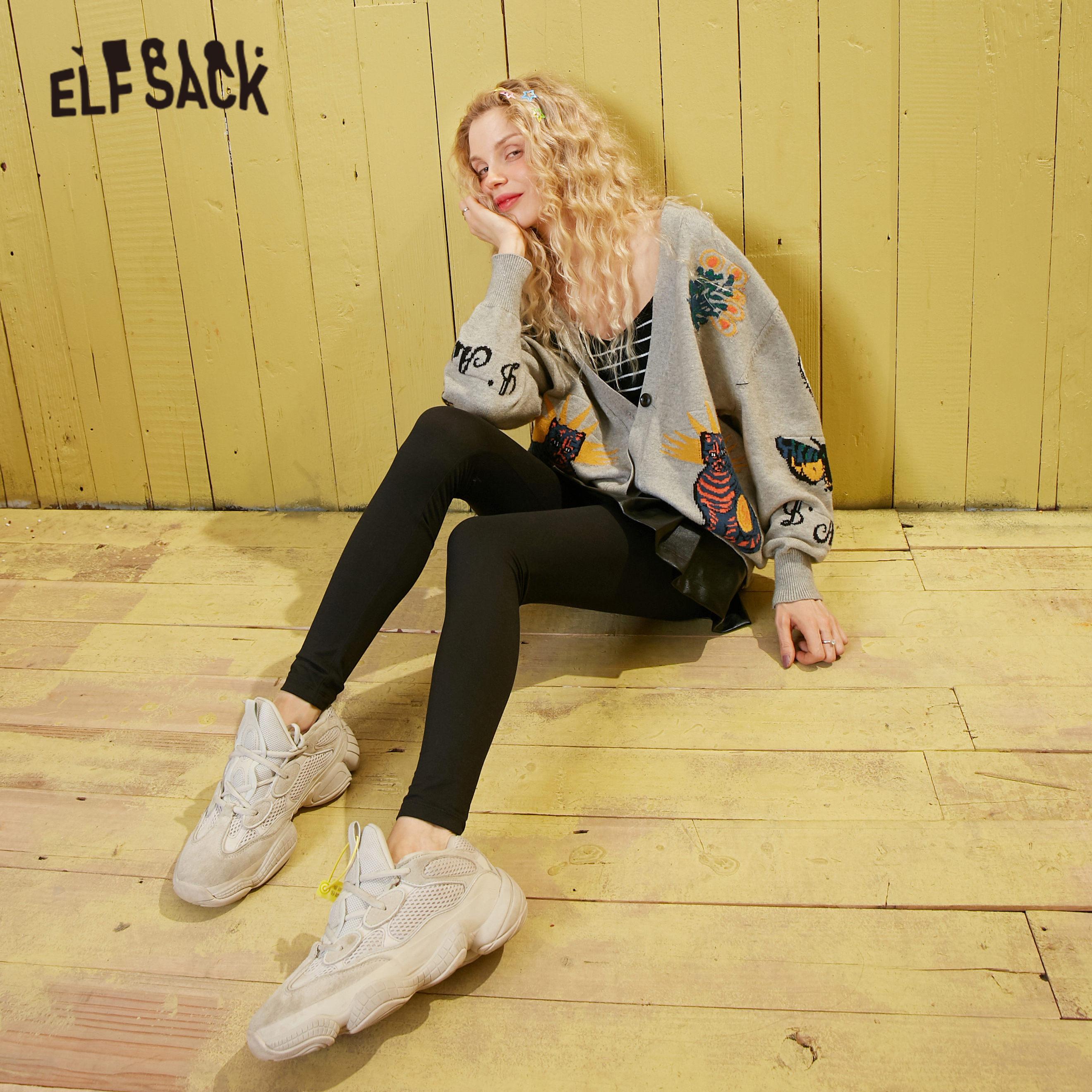 ELFSACK Black Solid Minimalist Style Elastic Waist Skinny Pants Women 2020 Spring New Pure Ladies Casual Basic Daily Trousers