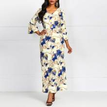 2019 Fashion Print Maxi Dress Women V Neck Luxury Robe Vintage Autumn Female African Elegant Bodycon Party Long Dresses