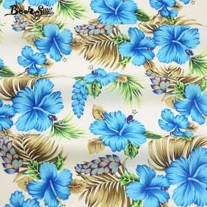 Fabric Textile Patchwork-Set Telas Flora Cotton Poplin Blue Dress Printed Shirt Por Metro