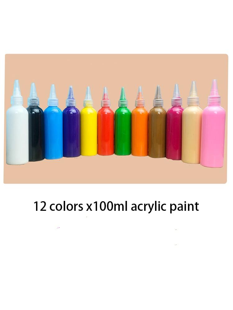 12 Color X100ml Acrylic Paint Set / Diy Painted Paint Children's Art Painting / Art Supplies/ Paint For Painting / Pigment