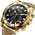 2019 MEGIR мужские часы Топ бренд класса люкс повседневные кожаные кварцевые часы мужские спортивные водонепроницаемые часы  золотые часы мужс...