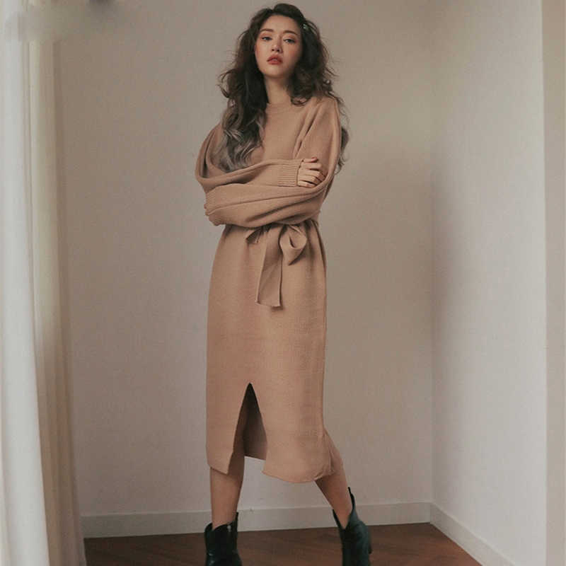 Autumn Winter Women Midi Crew-neck Sweater Dress Knitted Front Slit Sweaters Vestidos Femme 2019