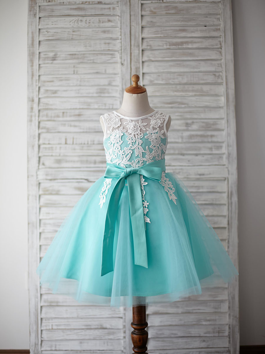 Flower Girl Dresses Ball Gown Scoop Sleeveless Knee-length Lace Tulle Mint Dress With Bow Sashes For Wedding Party