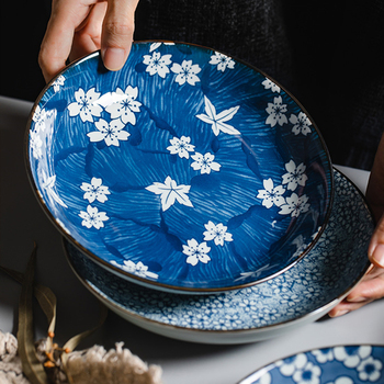 4 Pieces Jingdezhen Ceramic Tableware Round Japanese Plate Creative Household Floral Saucer Set 7 Inch Western Food Plates