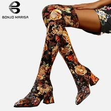BONJOMARISA Fashion Print Genuine Leather Suede Thigh High Boots Women 2019 Sexy Over Knee Stretch Boots High Heels Shoes Woman цены