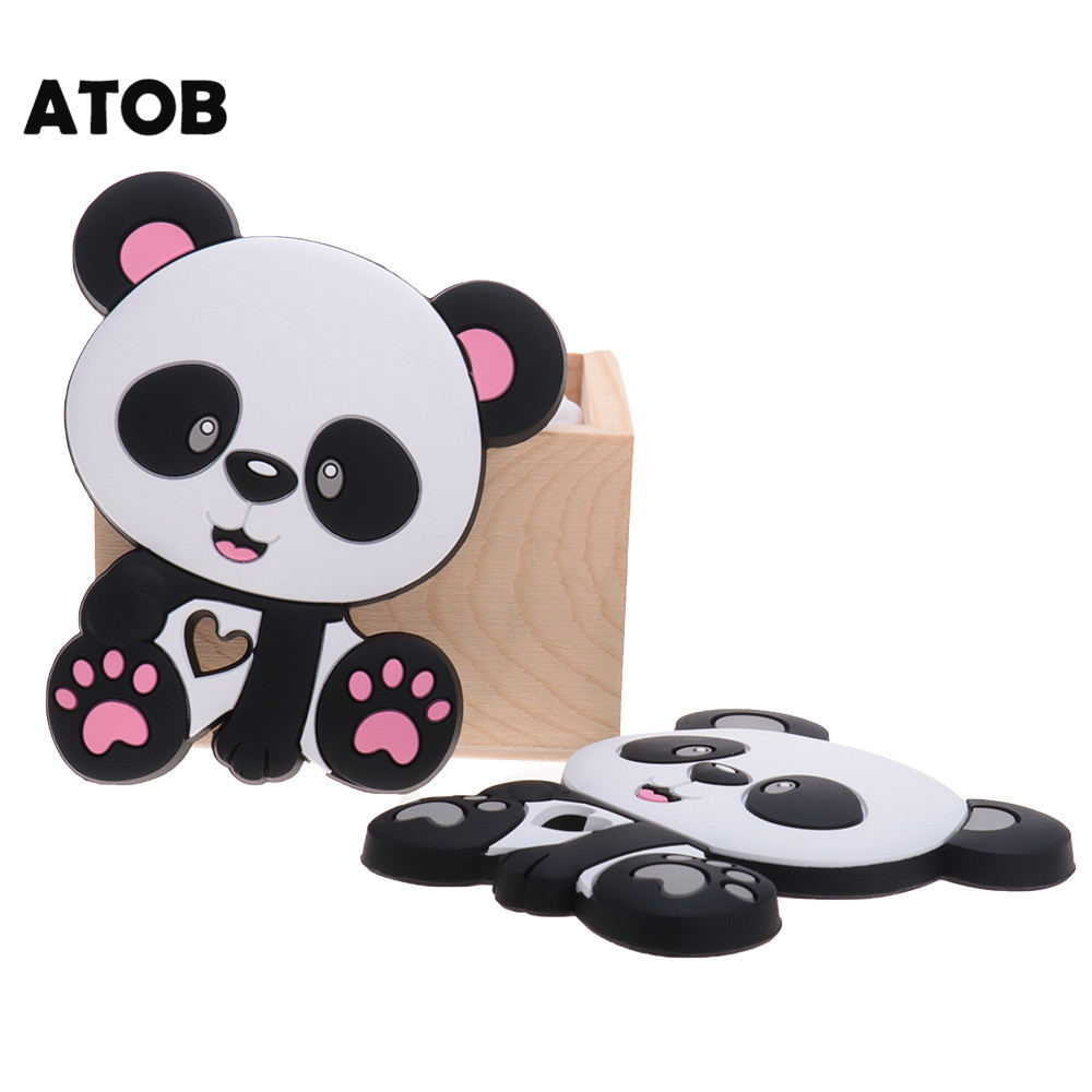 2pcs Panda Silicon Baby Teether Chewing Gum Bpa Free Silicone Teething Toy Baby Products Newborn Gift