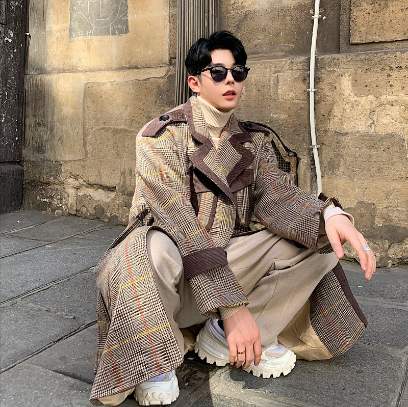 Men Autumn Winter Plaid Splice Double Breasted Long Wool Jacket Trench Coat Male Vintage Streetwear Thick Overcoat Outerwear