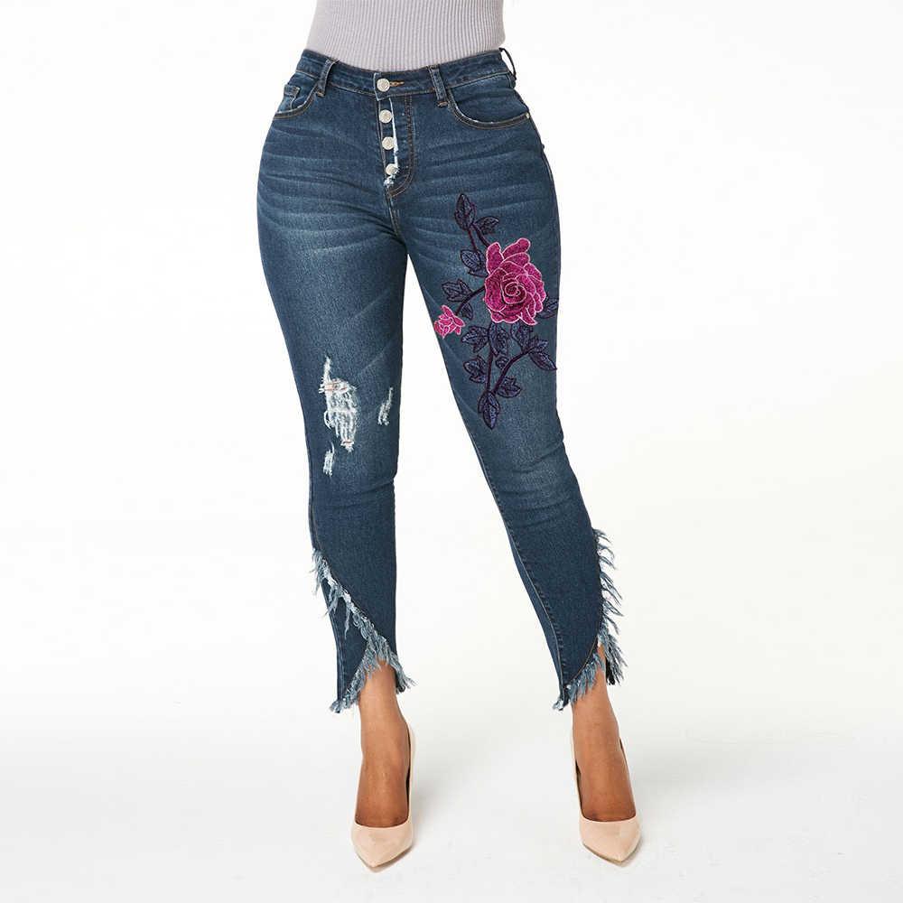 Vaqueros Bordados De Mujer Vaqueros Rasgados De Cintura Alta Para Mujer Moda 2019 Pantalones De Mezclilla Ajustados Para Mujer Pantalones De Lapiz Irregulares Para Mujer D25 Pantalones Vaqueros Aliexpress