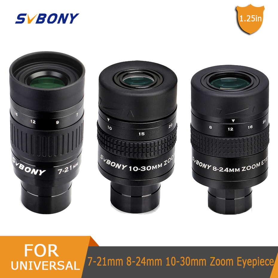 SVBONY 1 25inch Zoom Telescope Eyepiece 7-21mm 8-24mm 10-30mm Full Metal Barrel and Broadband Multicoating W9130A